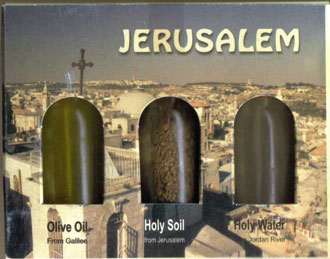 Olive Oil from Galilee, Holy Soil from Jerusalem & Holy Water from Jordan River